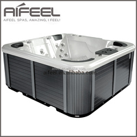 Freestanding acrylic outdoor 5 person whirlpool massage balboa spa commercial hot tub with 1 loungers