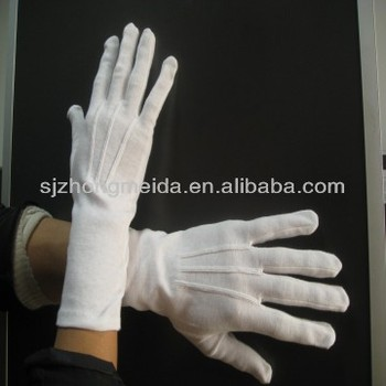 White cotton inspection uniform marching band gloves