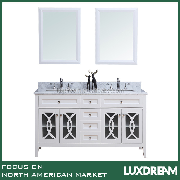 60 inch white wooden base bathroom vanity cabinet