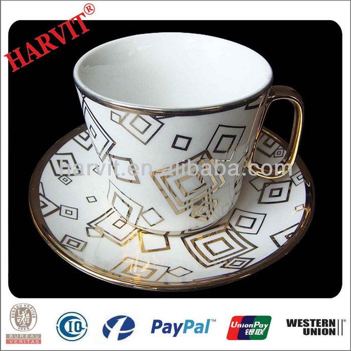 Fine Porcelain Gold Plated Tea Coffee Cup Saucer Set / Arabic Coffee Sets / Tableware Cup And Plate Sets