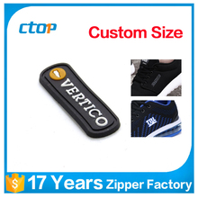 clothing black color PVC tag rubber patch brand garments logo designs