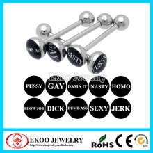 Steel New Dome Top Bad Word Logo Personalized Tongue Rings
