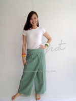 100% Thai Cotton Fisherman Pants Pine Green Long Massage Wrap Trouser Plus Size Trousers