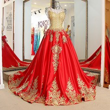 LS01774 Gold and red hot sale one piece decent silk gown birthday party dress evening party dress