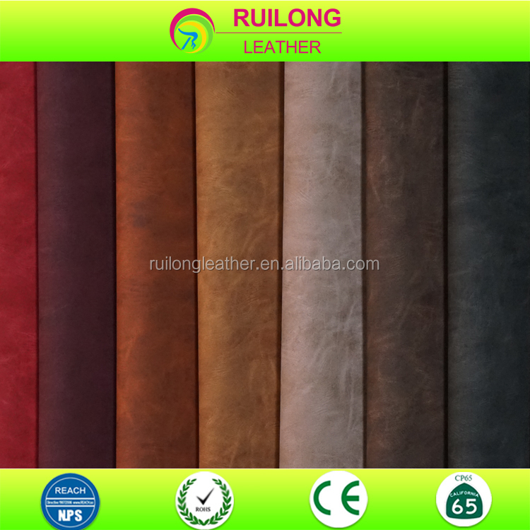 Two tones pu leather fabric bags sofa upholstery raw material