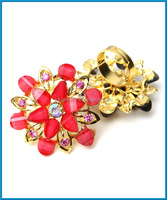 cheap fashion jewelry big artificial flower napkin gold ring designs