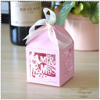 High quality wedding present for guests with bride and groom party supplies gift favour box