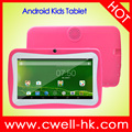7 Inch 512MB RAM 4GB ROM 2500mAh Battery Quad Core Lovely Multi-Color Free Silicone Case Android Kids Tablet PC Boxchip Q704