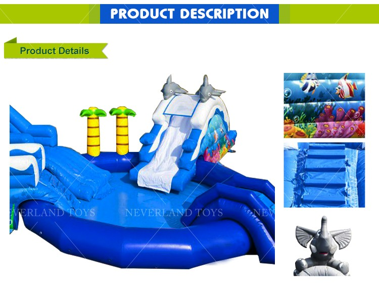 NEVERLAND TOYS Inflatable Water slide with Swimming Pool Lovely Elephant Slide Popular for Kids Hot Sale