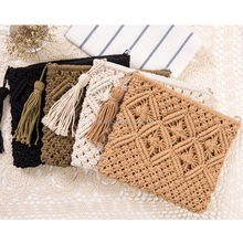 handmade crochet clutch bag tassel braid cotton rope beach bag