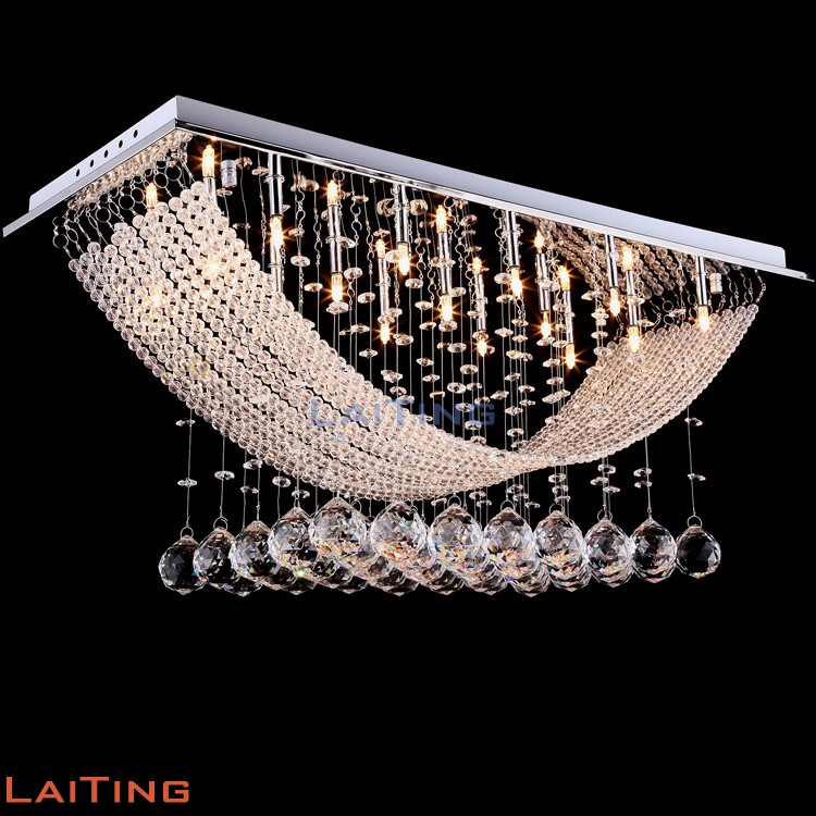 Zhongshan lighting factory modern K9 crystal bead curtain pendant ceiling <strong>lamp</strong> for hotel 92015
