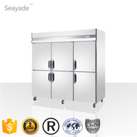 Commercial Cold Storage Refrigerator Freezer For Restaurant 1600L 6 Doors Stainless Steel Fan Cooling