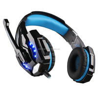 G9000 Wired 3.5mm Gaming Headband Headset,game Headphone with Microphone LED Light for Laptop Mobile Phones/PS4-blue