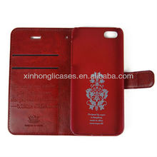 Deluxe Luxury genuine wallet leather flip case cover for iphone 5 5""