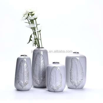 seasal home decoration table grey porcelain vase with feather design