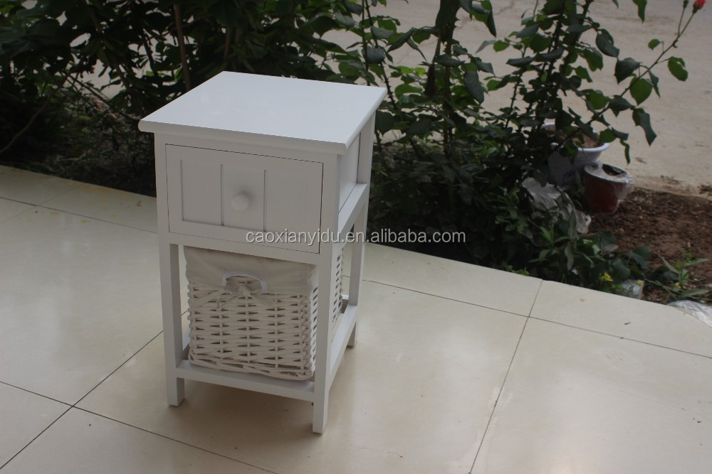 White Wooden Wicker Chest of Drawers ,Wooden Storage Chest