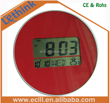 Plastic round digital wall clock with temperature