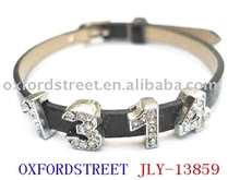 Leather bracelet.crystal bracelet.acrylic bangle--JLY-13859