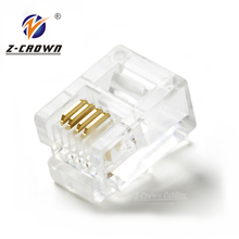 UTP 6P4C Telephone RJ11 Plug Connector Cat3 cable connector
