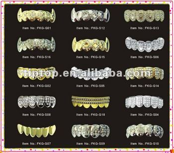 gold teeth grillz with clear Crezh stones