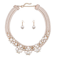 fashion alibaba jewelry set rhinestone and pearl necklace and earrings sets with woven string