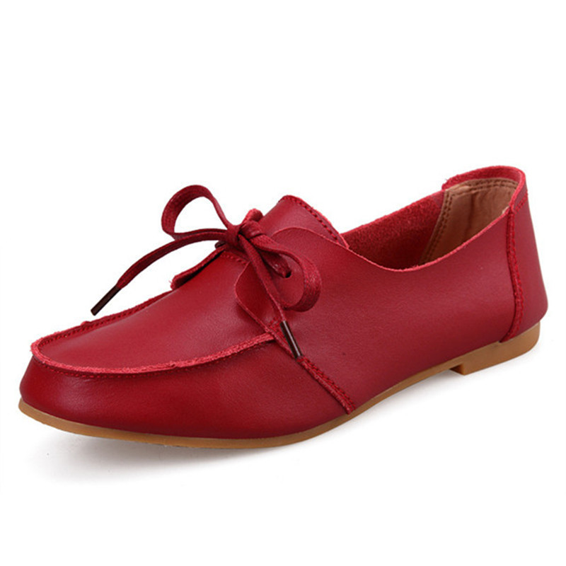 5c826f41916d Get Quotations · Comfortable Genuine Leather Flats Shoes Women Casual Lace  Up Moccasins Ladies Flats Shoes Ultralight Fashion Women