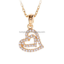 china wholesale fashion jewelry 24k gold plated cubic zircon pave brass heart shape jewellery necklace for bride