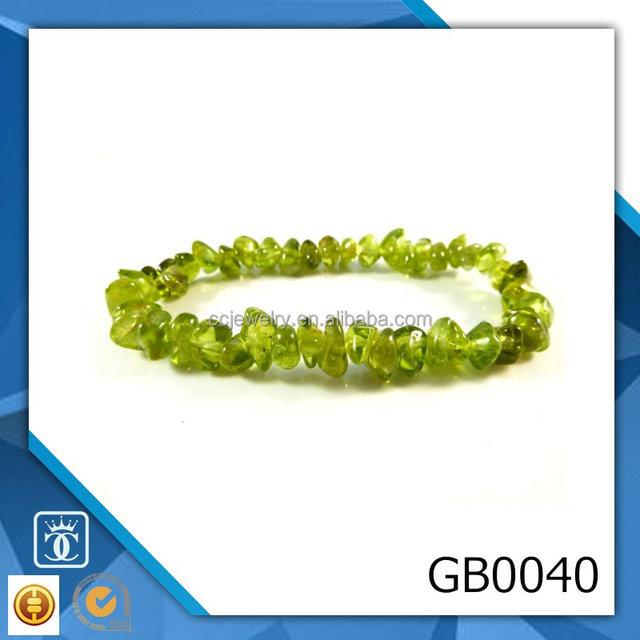 Peridot Stretch Bracelet Tumbled Polished Nugget Chip Bead Gemstone August Birthstone Bracelet Wholesale Yiwu Jewelry