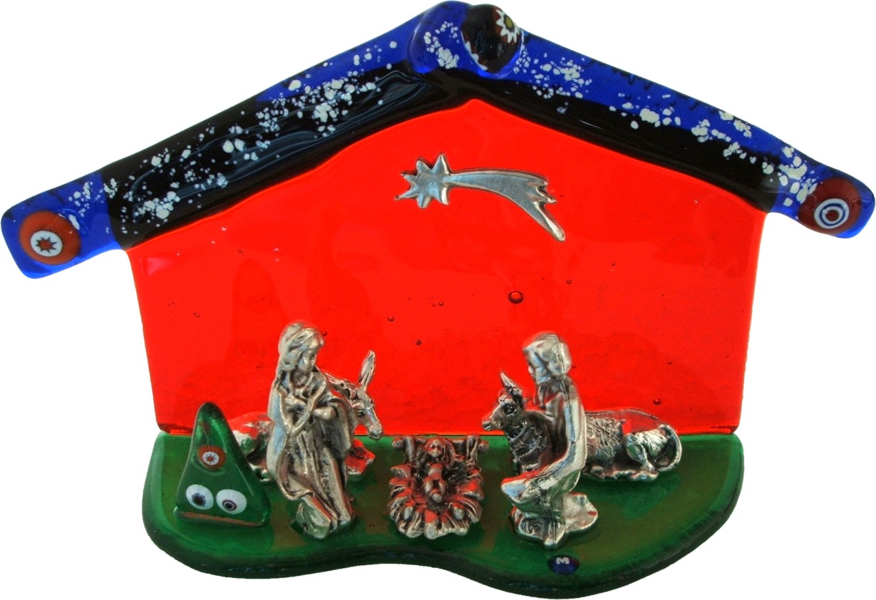 "Nativity house Murano glass with ""Murrina"" Made in italy"