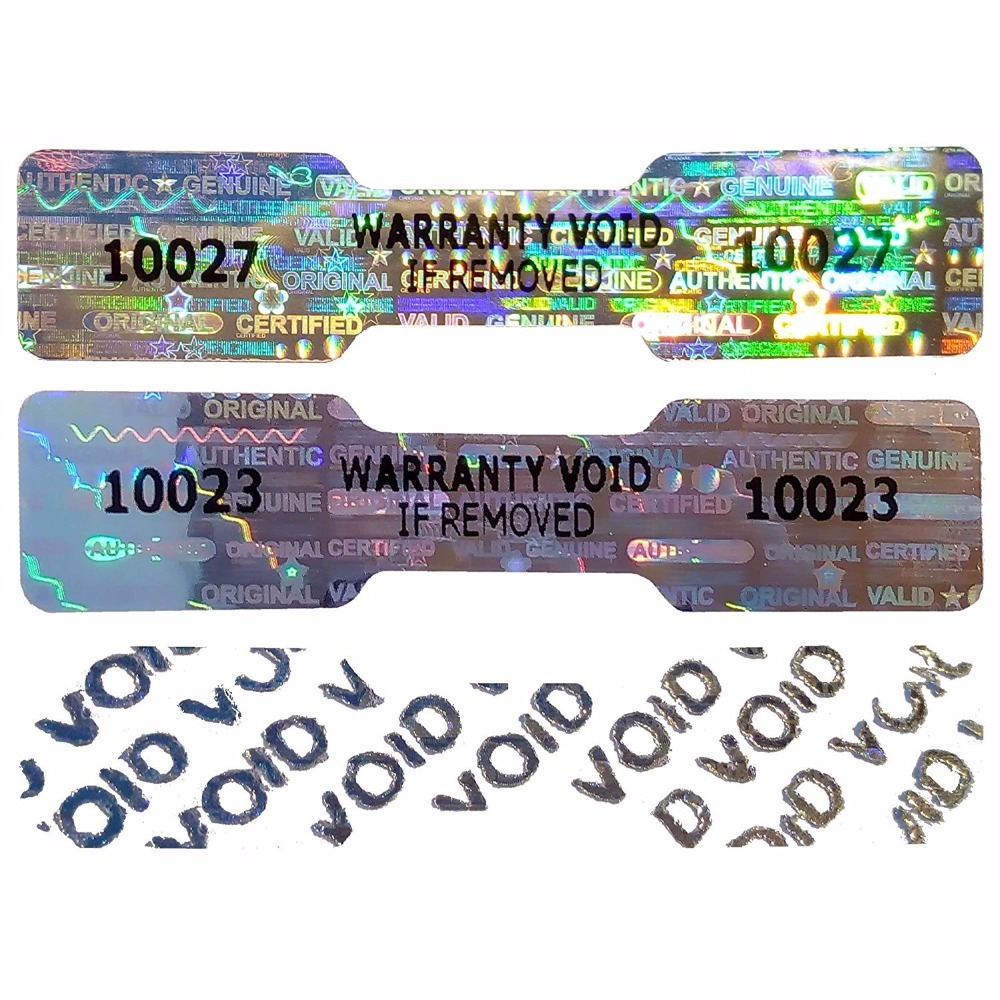 Custom anti-theft seal warranty void sticker hologram printing