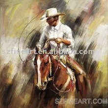 Latest design handmade Impressionist abstract oil painting of handsome cowboy with his horse