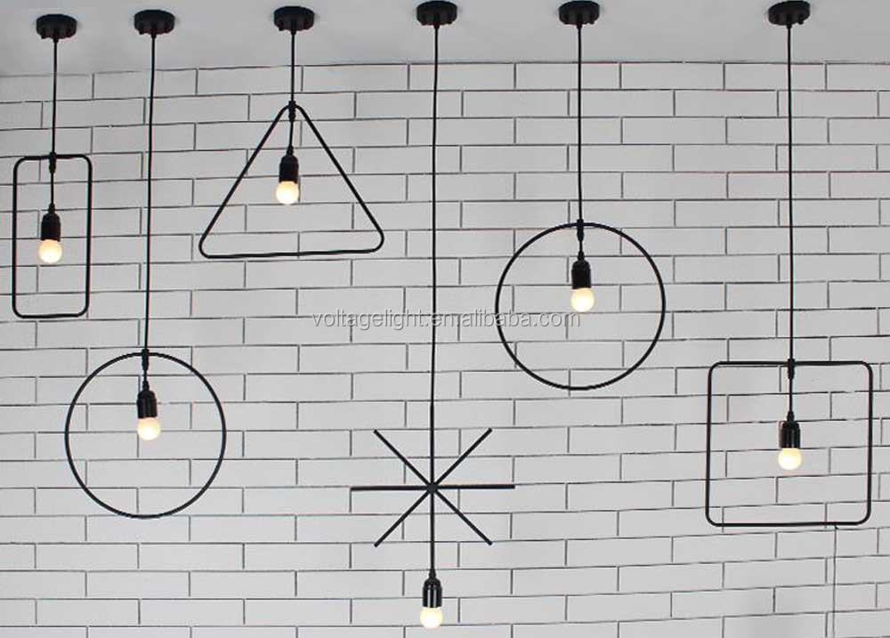 Modern Pendant Light Vintage Industrial Lamp Square Round
