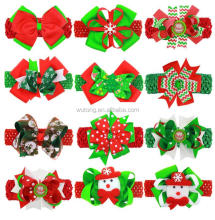 Baby Christmas Pattern Printed Headband Infant Crochet Elastic Headband Grosgrain Ribbon Big Bow Headbands