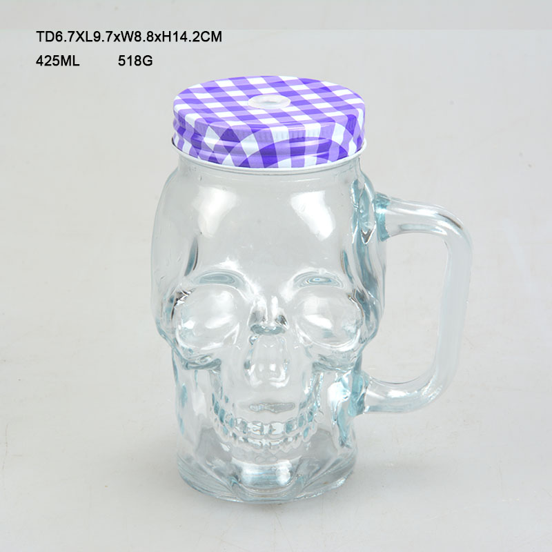 Bestsell SkullHead Glass Beer <strong>Cup</strong> With Handle