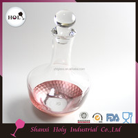 New Style bulk single crystal whisky wine pink colored glass decanter engraved with stopper wholesale16DC021