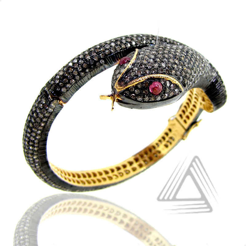 925 Silver Bangles, Snake Diamond Bracelet , Gold Plated Silver Fashion Bracelet