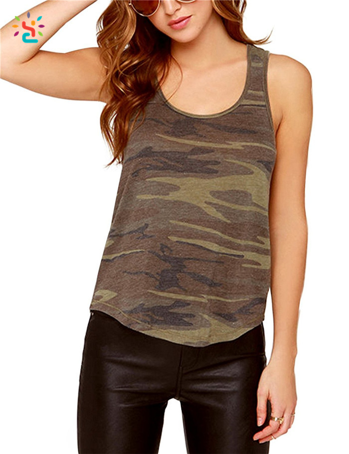Wholesale camo tank top Floaty Swing tank tops custom sleeveless t shirt scoop neck tops tees
