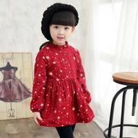 YD2216children dress plus thick star printed pleated cute girl dress