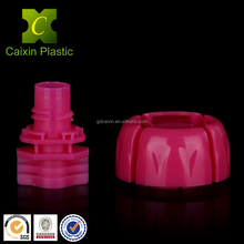 Custom made food grade easy filling juice spout stand up pouch with screw cap and plastic carry handle