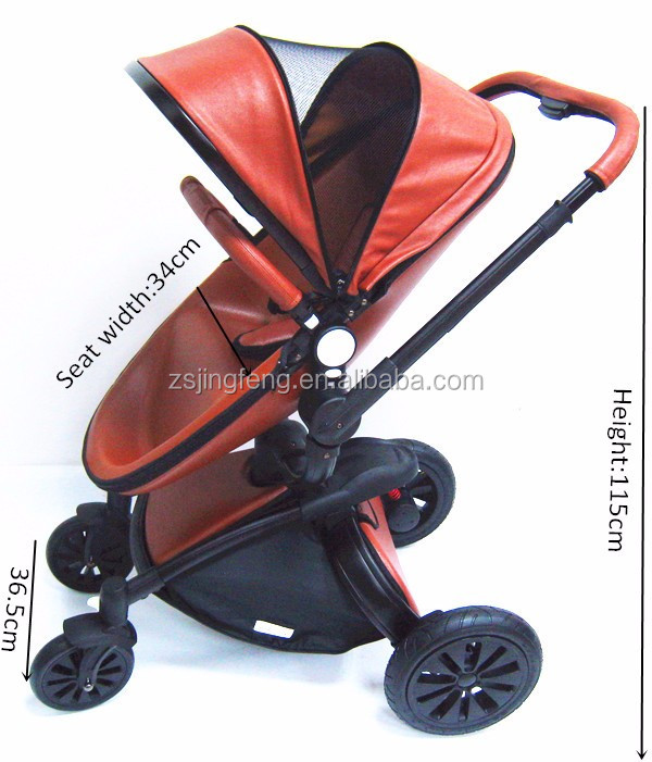 Luxury Baby Strolle Style Egg Shape Leather Material EN1888 Stroller 3 in 1 With EVA Wheels For Sale