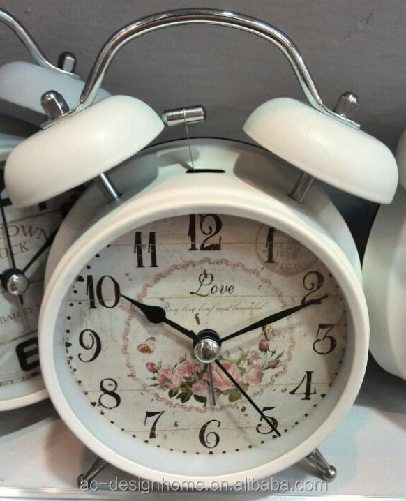 WHITE ROUND TABLE TOP DECORATIVE METAL TWIN BELL ALARM CLOCK