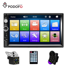 "Podofo 7"" Car Radio de Coche Autoestereo 2 Din Stereo Audio Video Bluetooth TF USB FM + 8IR Rear Camera & Steering Wheel Control"