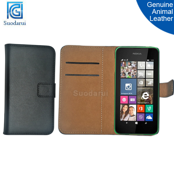 Genuine animal leather Stand Wallet Flip Phone Cover case For Nokia Lumia 530