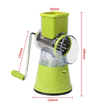 Factory directly sales multifunctional manual cutter round drum grater with shredding slicer grinding