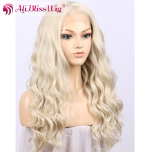 Top Quality Cheap Price Platinum Blonde Natural Heat Resistant Fiber Curly Wavy Long Lace Front Synthetic Wig