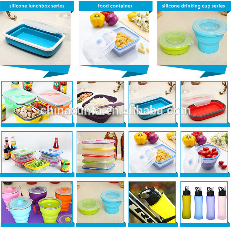 Latest design silicone material anti-stain picnic food container set