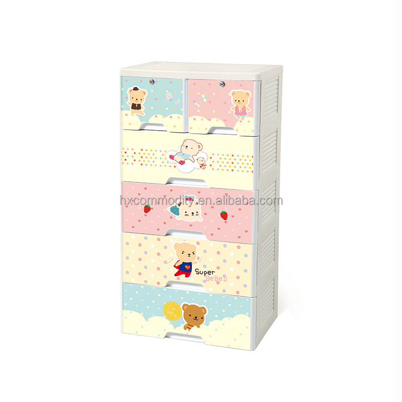 Colorful cartoon printing cheap baby plastic storage drawer cabinet