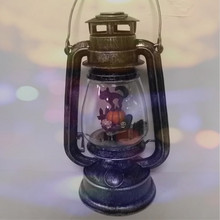 Battery Powered LED Water Globe Vintage Halloween Green Hurricane Lanterns with Pumpkin and Cat Scene