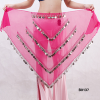 Hot velvet belly dance belt belly dance Velvet Triangle hip scarf gold coins belt B0137
