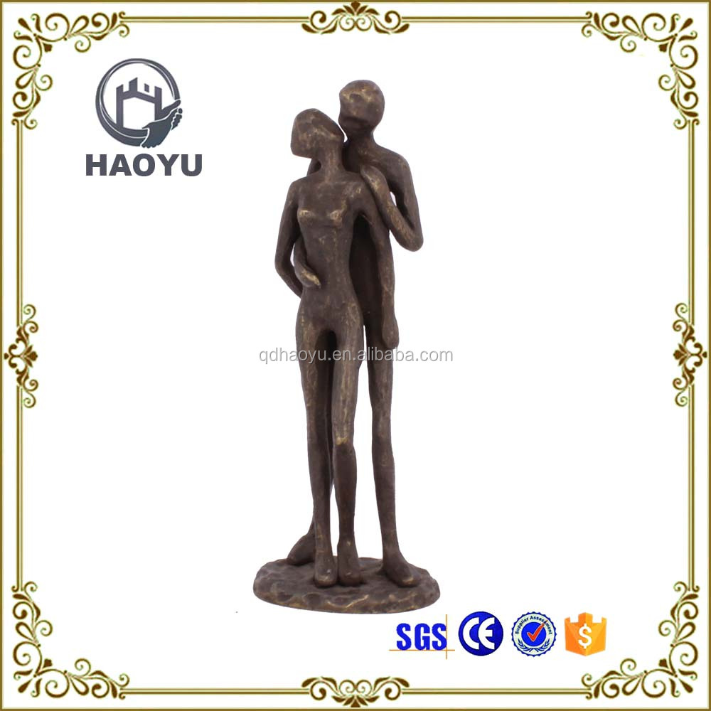Metal art and crafts bronze love theme kissing figurines for home decoration